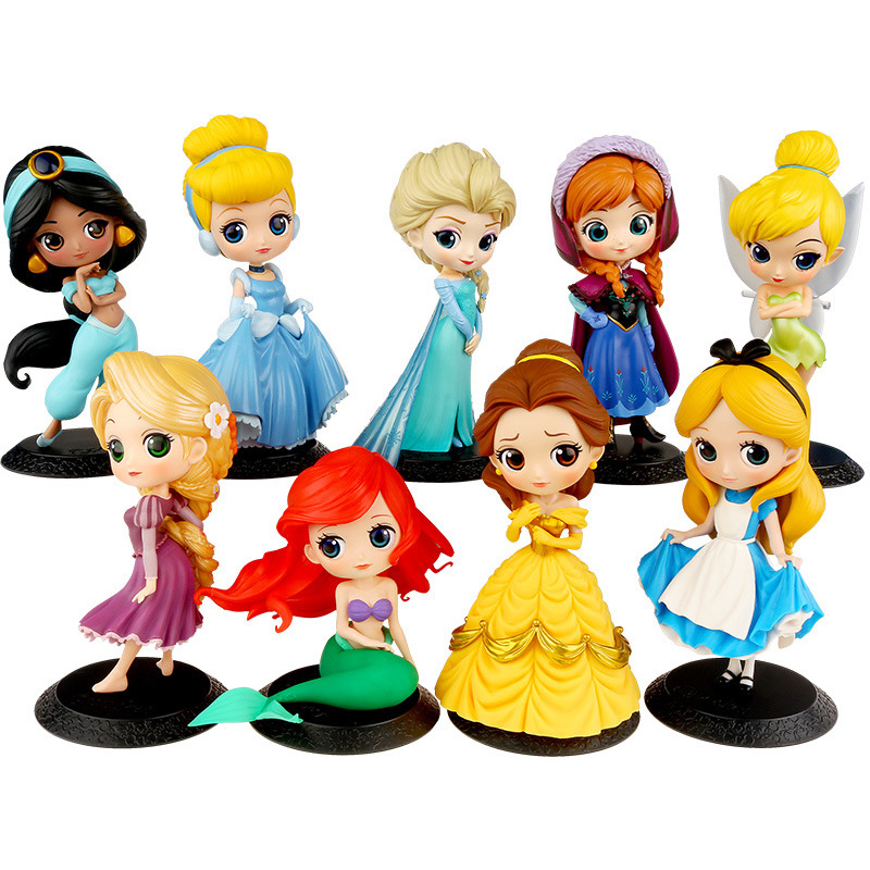 10 Styles Disney Princess Q Posket Frozen Elsa Anna Rapunzel Belle Snow White Action Figures Pvc Anime Dolls Collection For Girl