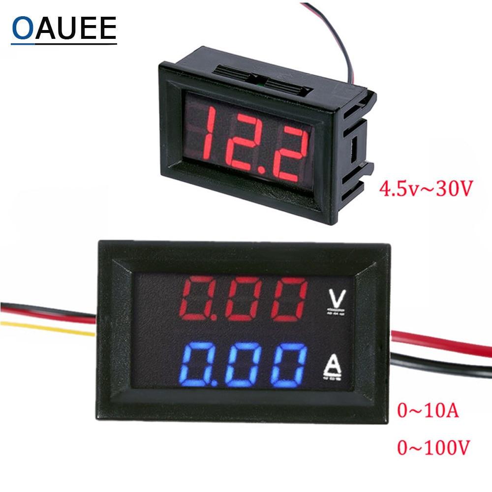 DC 100V 10A Вольтметр Амперметр синий и красный цвета светодиодный Amp двойной цифровой вольтметр калибр, 4,5 V постоянного тока до 30V Вольтметр Нап...