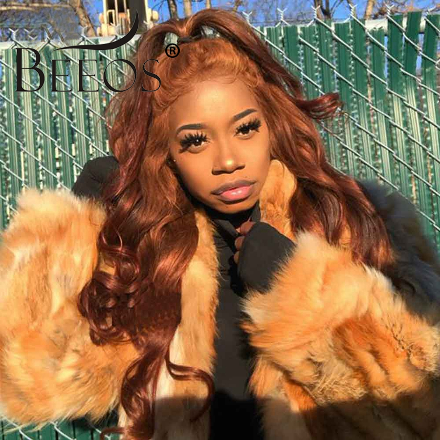 Beeos Ginger Orange HD Transparent Lace Human Hair Wig Remy Colored 13*6 Lace Front Wigs Pre Plucked With Baby Hair Glueless