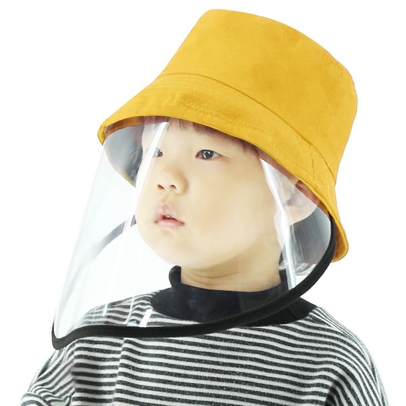 PULUZ Anti-Saliva Splash Anti-Spitting Anti-Fog Anti-Oil Protective Cap Kids Fisherman Hat Removable Face Shield Yellow