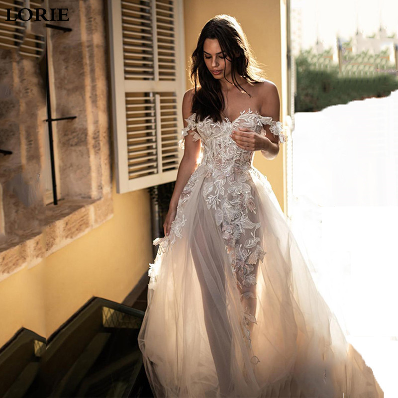 LORIE Princess Wedding Dress 2019 Vestidos De Novia Off The Shoulder 3D Appliqued Lace Sexy Wedding Bride Dresses
