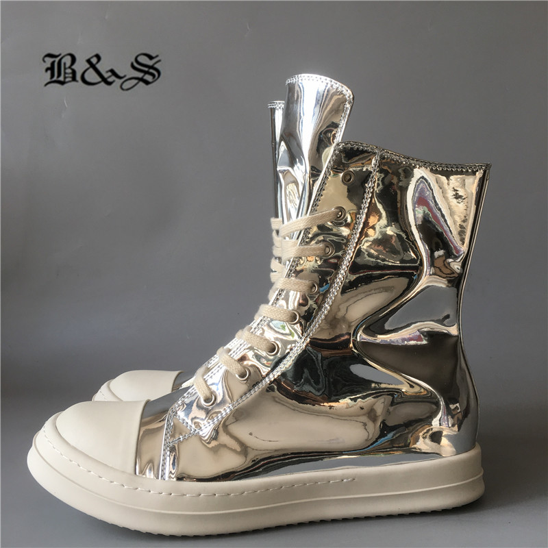 Black& Street patent Leather High top hip hop Qaulity Trainer Sneaker leisure Boots new comfortable unisex cool  flats shoes