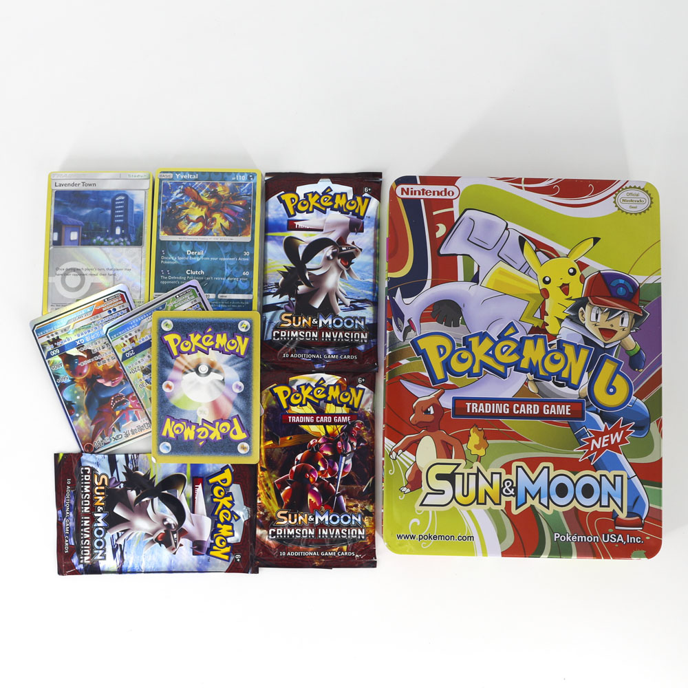 TAKARA TOMY Pokemon Cards Collection Board Card Game 123pcs Flash Battle Toys Shining Metal Box For Kids Gifts