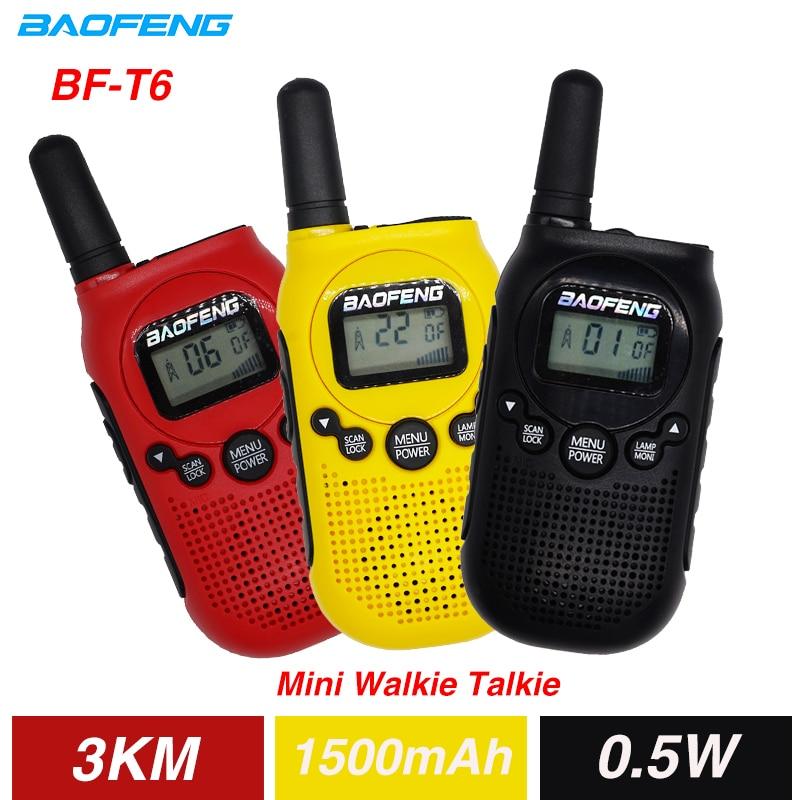 2PCS Baofeng BF-T6 Mini Kids Walkie Talkie FRS PMR Portable CB Ham Radio Station 3KM 22 Channels Two Way Radio FM Communicator