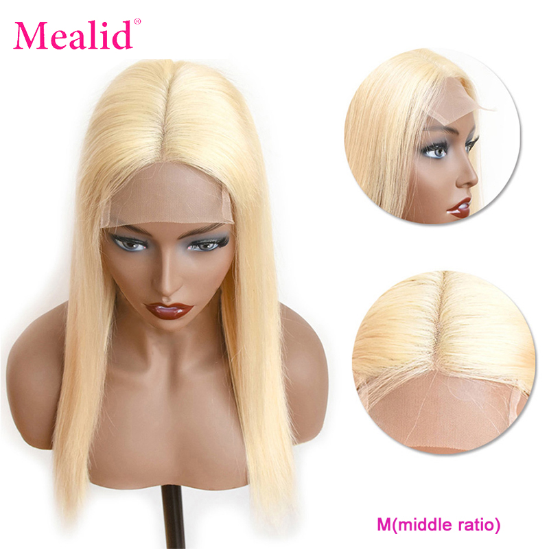 Mealid Remy 613 Blonde Lace Closure Wigs Brazilian Straight Human Hair Deep Closure Wigs 150% Preplucked With Baby Hair