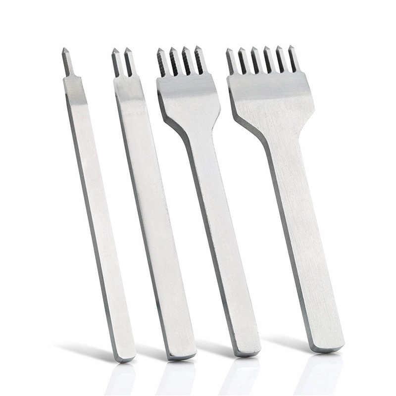 4 adet/takım deri el sanatları araçları delik zımba bağlama dikiş el dikişli beyaz çelik Linger Hiratsuka Prong delme delme kitleri