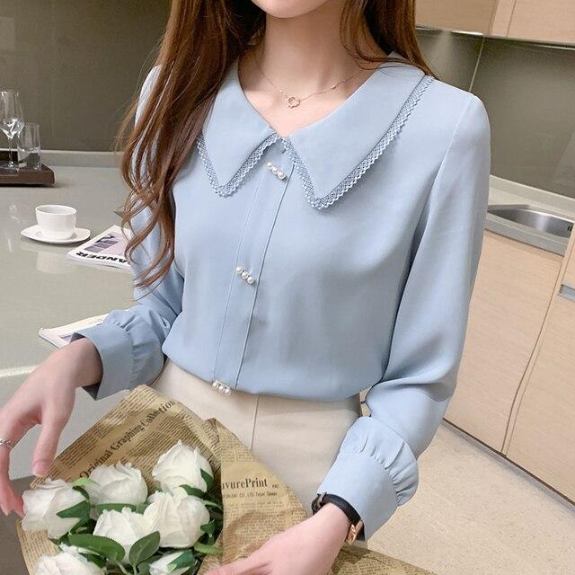 Long Sleeve Chiffon Shirt Doll Collar French Top Korean Fashion New 2020 Loose Professional Shirt Women Blouses 1