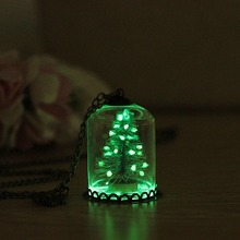 Christmas Tree Glowing Necklace For Women Charm Handmade Glass Cover Snowflake Pendant Men Jewelry