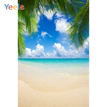 Tropical Cloud Summer Sea Ocean Seaside Beach Palm Tree Sky Backdrop Vinyl Photography Backgrounds For Photo Studio Photophone