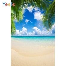 Tropical Cloud Summer Sea Ocean Seaside Beach Palm Tree Sky Backdrop Vinyl Photography Backgrounds For Photo Studio Photophone