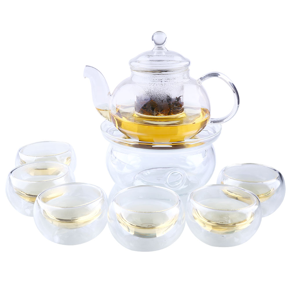 Tea Set 800ml Teapot+Warmer+6 Pot Home Sarafe Set Clear Glass Infuser Double Wall Kitchen W/ Cup Heat Resistant Borosilicate