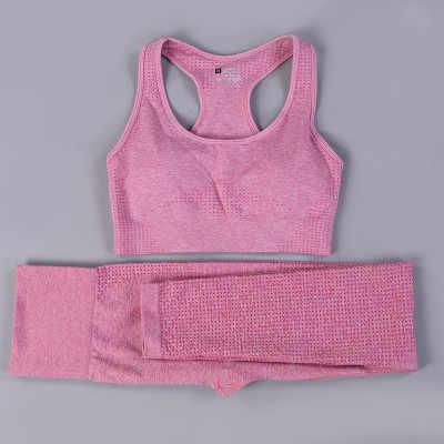 2PCS סטי יוגה חלקה חותלות חזייה ארוך שרוולים חולצה יבול למעלה נשים ריצת כושר ספורט גבוהה מותניים כושר ספורט חזייה צפצף