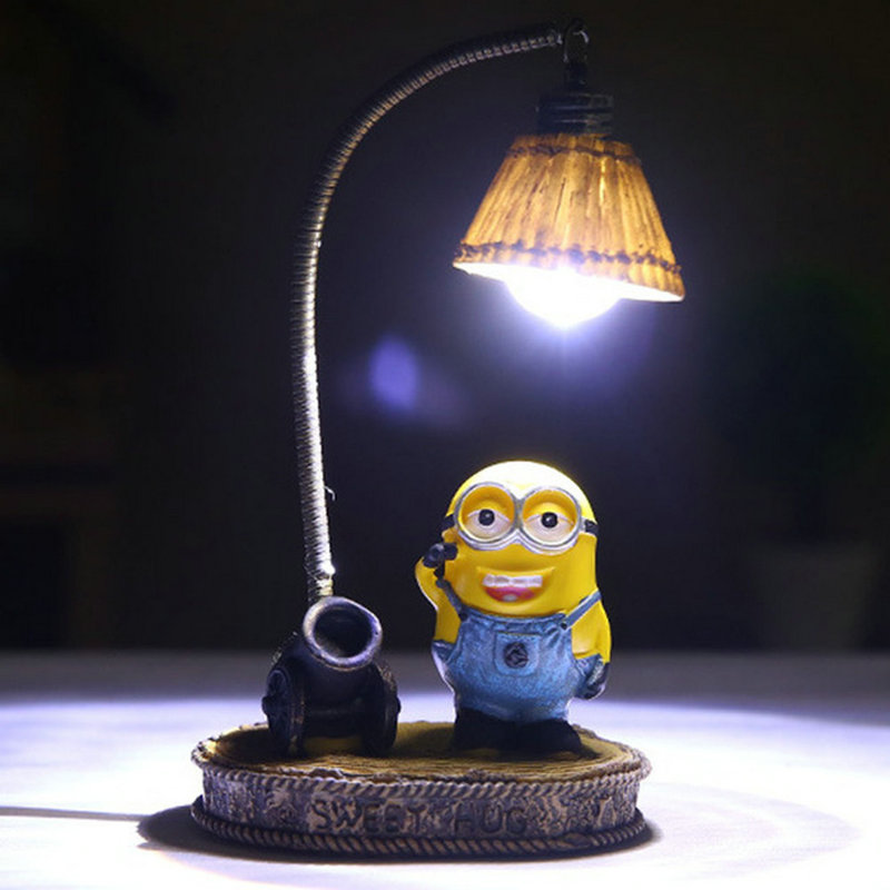 Cartoon Night Light Home Decor Fixture Resin Lamp For Baby Kid Childern Room LED Resin Minions Night Light Decoration De Maison