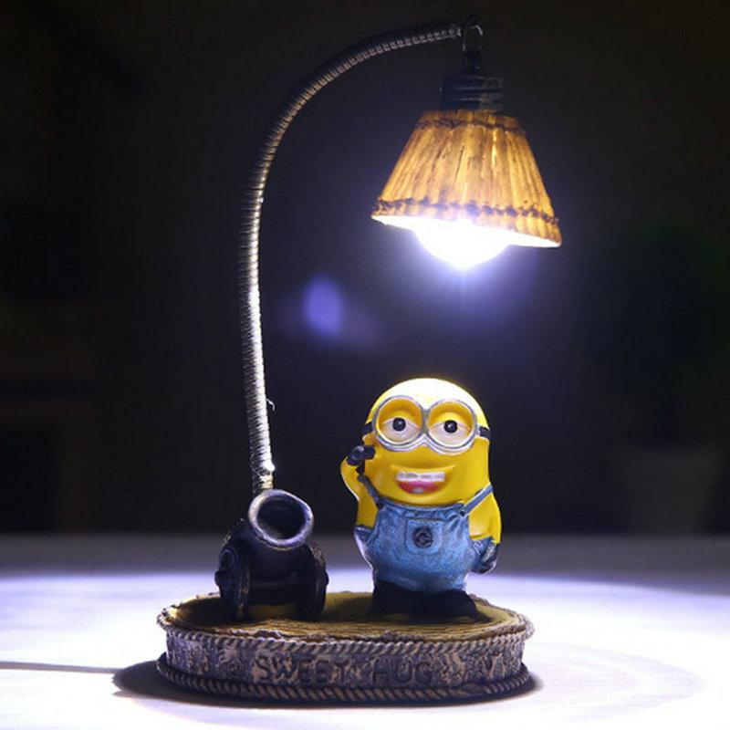 Cartoon Night Light Home Decor Fixture Resin Lamp For Baby Kid Childern Room LED Resin Minions Night Light Decoration De Maison