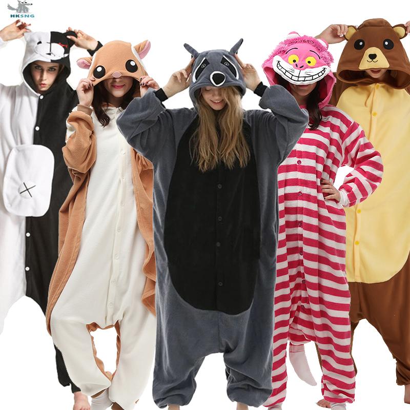 HKSNG Kigurumi Animal Adults Cat Bear Shark Onesies Pajama Raccoon  Costumes Dragon Jumpsuit Christmas Gift