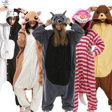 HKSNG Kigurumi 동물 성인 고양이 곰 상어 Onesies pyjama 너구리 여우 의상 드래곤 점프 슈트 크리스마스 선물