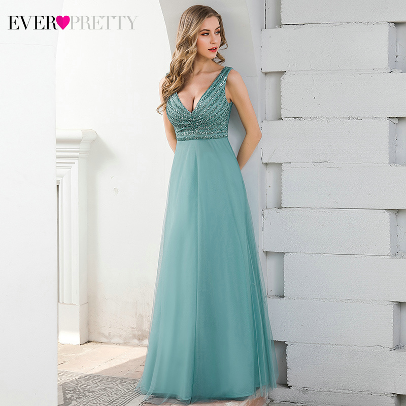 Sparkle Blue Prom Dresses Ever Pretty Sequined Double V-Neck Sleeveless Tulle Sexy Formal Party Gowns Vestidos De Gala 2020