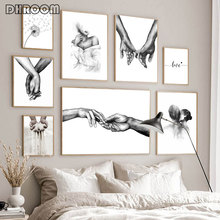 Black White Romantic Hand In Hand Canvas Painting Love Quotes Wall Art Poster Print Fashion Picture Couples Lovers Room Decor