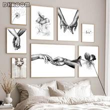 Lienzo romántico para decoración de la habitación, imagen de moda para parejas, amantes, arte de pared tomados de la mano, póster impreso, color blanco y negro