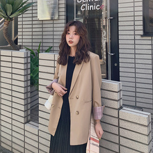 Korean Casual Retro Ladies Blazer Solid Khaki Stylish Simple Suit Jacket Blazer Paillette Loose High Street Women Blazer MM60NXZ