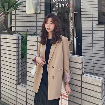 цена Korean Casual Retro Ladies Blazer Solid Khaki Stylish Simple Suit Jacket Blazer Paillette Loose High Street Women Blazer MM60NXZ онлайн в 2017 году