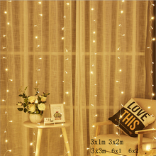 2/3/6M וילון LED מחרוזת אור פיות נטיף קרח LED חג המולד זר חתונה מסיבת פטיו חלון חיצוני מחרוזת אור קישוט
