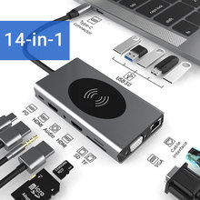 15 w 1 USB typ C HUB z HDMI RJ45 bezprzewodowa ładowarka czytnik kart SD USB-C Hub type-c Plitter dla Macbook Pro akcesoria do laptopów