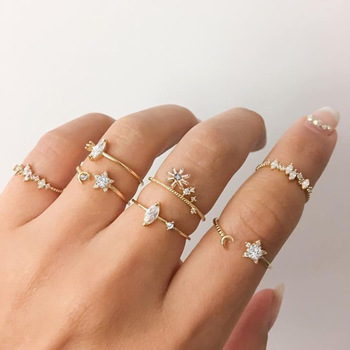 Vintage Gold Color Crystal  Star Moon Rings Set For Women Boho Knuckle Finger Ring Female Fashion Jewelry Accessories 2020 New 3