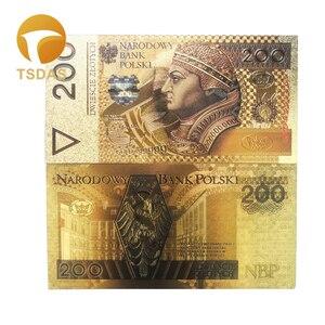 Красивые польские цветные банкноты 200 Zlotych Золотая фольга банкноты в 24K позолоченные для сбора банкнот 10 шт./лот
