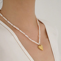Vintage Natural baroque shaped pearl French necklace gold heart pendant necklace for women