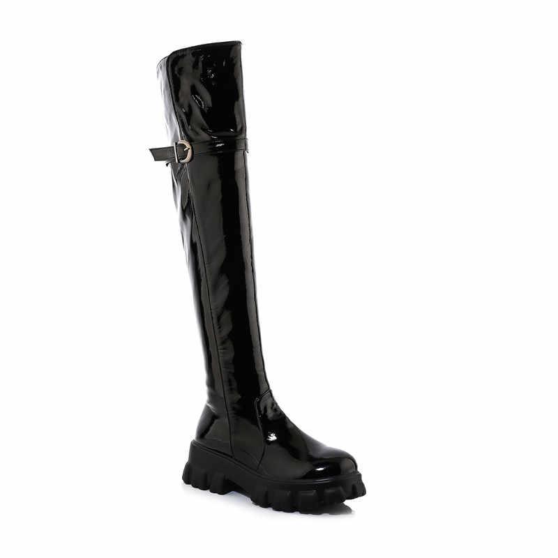 MORAZORA 2020 büyük boy 33-46 kış sıcak tutmak diz çizmeler üzerinde moda patent deri toka siyah renk kadın botları