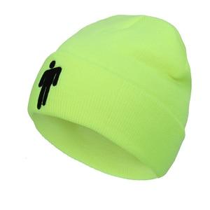 Женская шапка с вышивкой Billie Eilish Merch, лидер продаж, с логотипом, вязаная шапка, эластичная шапка, однотонная, в стиле хип-хоп, на каждый день, с манжетами, бини