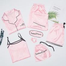 Autumn Spring 7 Pieces Set Silk Elegant Women Pajamas stripe Shorts Long Sleeve Tops Elastic Waist Pants Full Lounge Sleepwear