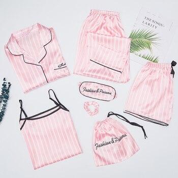 Autumn Spring 7 Pieces Set Silk Elegant Women Pajamas stripe Shorts Long Sleeve Tops Elastic Waist Pants Full Lounge Sleepwear - discount item  25% OFF Women's Sleep & Lounge