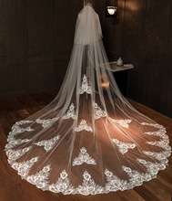 Wedding Veil 3 Meters Long Bridal Veils Full Edge Flowers One-layer Ivory White Bride Wedding Accessories In Stock 2020 real photos sparkly sequins lace 3 meters wedding veil with comb one layer 3 m white ivory bridal veil velo 2019