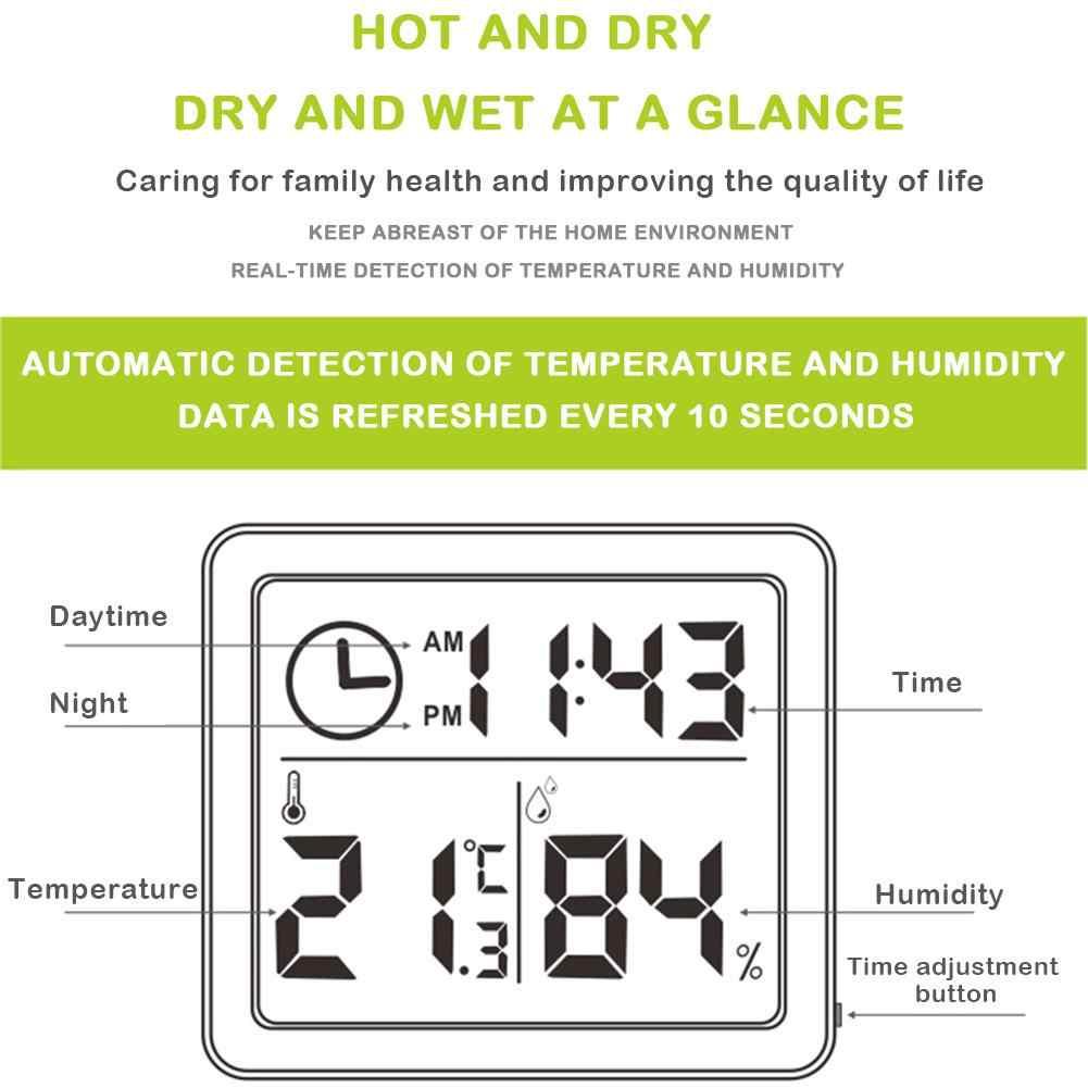 81x71x10mm multifonction thermomètre hygromètre automatique électronique température humidité moniteur horloge grand écran LCD