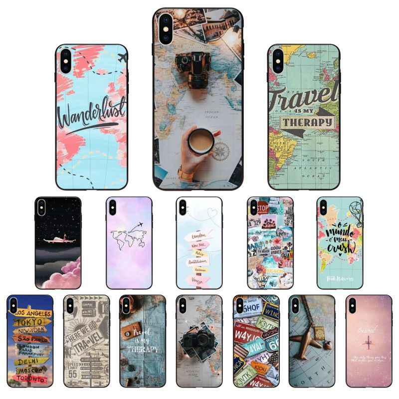 Travel in the world map Plane plans Cover Phone Case For iPhone 8 7 6 6S Plus 5 5S SE 11 11pro max XR X XS MAX Coque Shell Cover