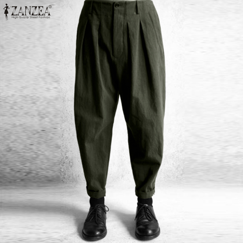 2020 ZANZEA Fashion Women Elastic Waist Harem Pants Cotton Turnip Solid Trousers Female Casual Summer Pantalon Palazzo Oversized