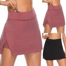 Женская юбка для йоги, эластичная резинка на талии, имитация двух частей, юбка для тенниса и йоги, сексуальная юбка для похудения, трапециеви...