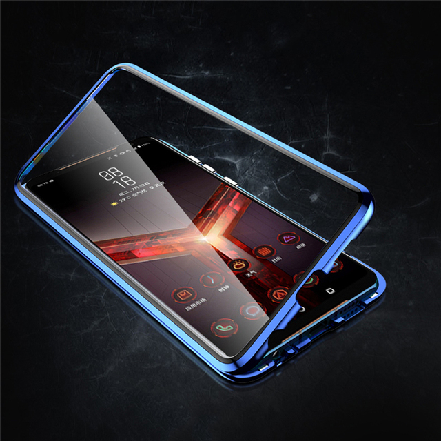 Front & Rear Double Sides Tempered Glass Transparent Magneto Phone Case for ASUS ROG Phone II 2 / ZS660KL