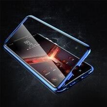 Ön ve arka çift taraflı temperli cam şeffaf Magneto telefon kılıfı için ASUS ROG telefon II 2 / ZS660KL