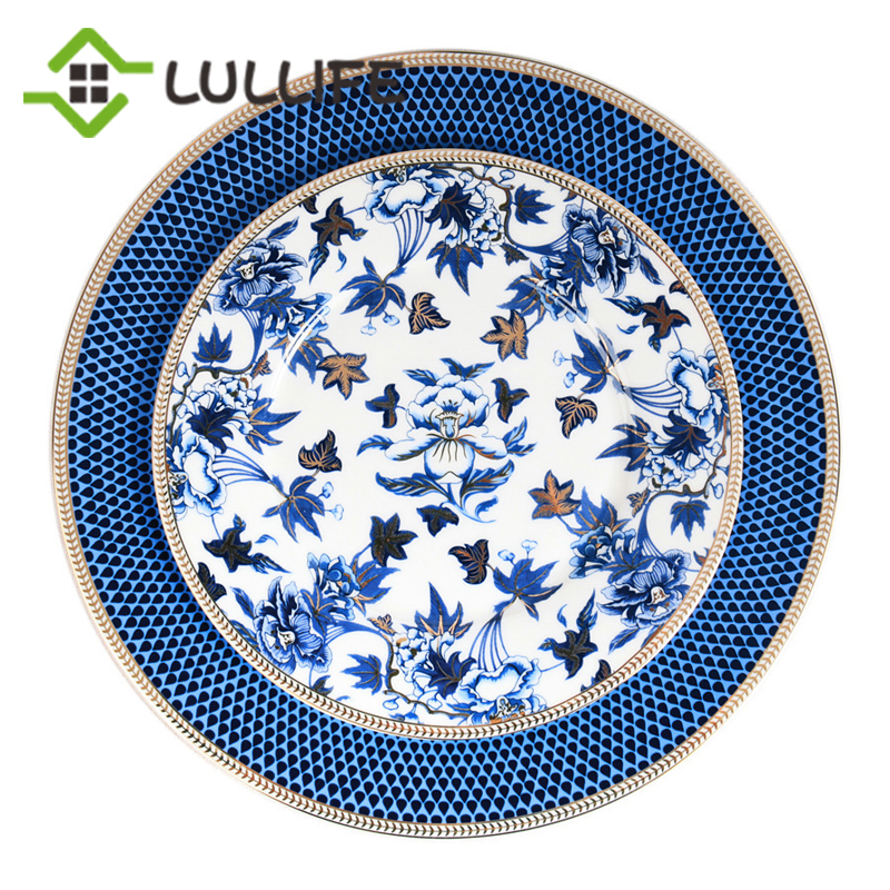 Assiette de table en porcelaine 8/9/10.5 pouces | Incrustation en or plats et assiettes floraux pour la maison, assiette de chargeur de mariage, assiette à soupe, vaisselle de table