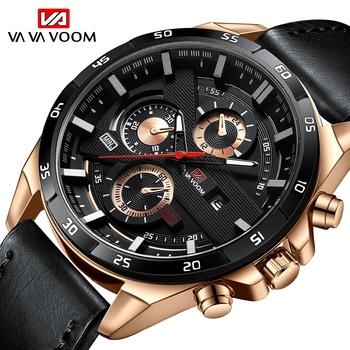 2021 New Arrival Moderno zegarki męskie sportowe Reloj Hombre Casual Relogio Masculino Para wojskowe armii skórzany zegarek na rękę dla mężczyzn tanie i dobre opinie VA VA VOOM 9 5inch QUARTZ Rohs 3Bar Sprzączka CN (pochodzenie) STOP 12mm Hardlex Kwarcowe zegarki Papier Skórzane 45mm