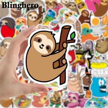 CA1437 50pcs/set Cute Sloth Animal Laptop Stickers Funny Cartoon Waterproof Stickers for Kids DIY Bike Guitar Fridge Toy Sticker anime avatar monster pet thumbnail funny spoof taste fridge magnet colourful squishy waterproof stickers kawaii toy recyclable