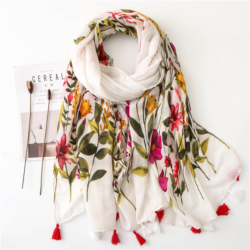 Sparsil Women Spring Cotton Tassel Shawl Floral Voile Korean Style Long Pashmina Wrap Thin Sun Protection Summer Soft Scarf