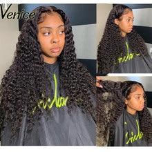 베니스 머리 곱슬 머리 레이스 전면 인간의 머리가 발 Pre 뽑은 13x6 레이스 프런트가 발 흑인 여성 360 레이스 정면 가발 레미 헤어
