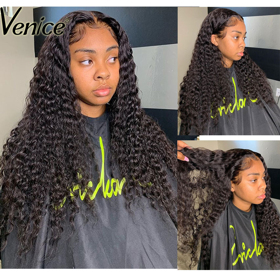 Venice Hair Curly Lace Front Human Hair Wigs Lace Frontal Wig For Black Women Pre Plucked Full Lace Human Hair Wig Remy Hair