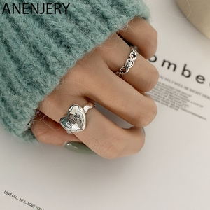 ANENJERY Vintage Love Heart Shaped Smiling Face Thai Silver Color Ring Open Finger Rings For Women Jewelry Gifts S-R749
