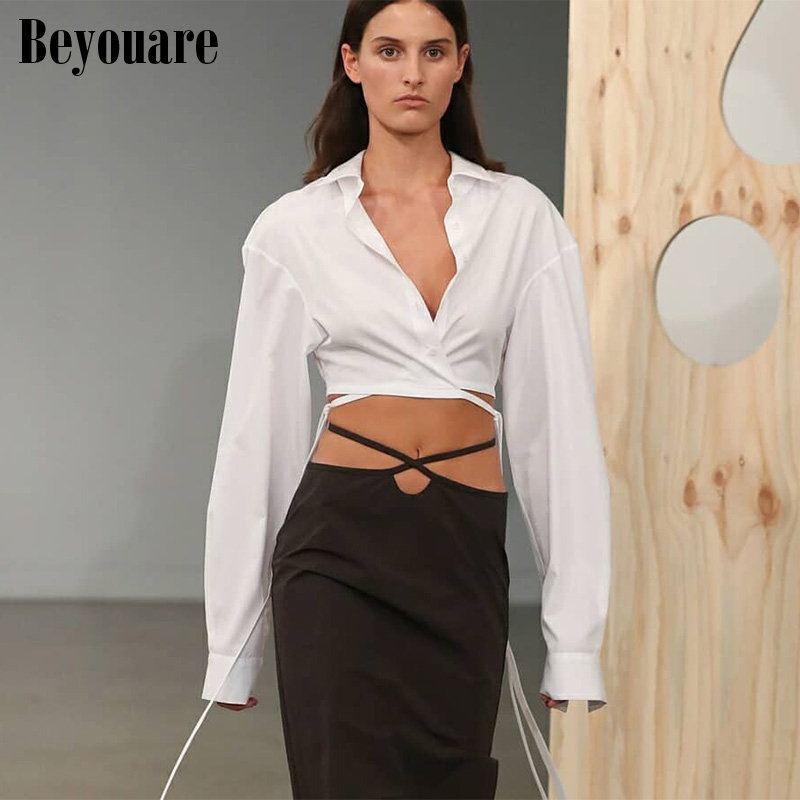 Beyouare Bandage Shirt Women Spring White Turn Down Collar Button Fly Long Sleeve Casual Cropped Top Solid Elegant Fashion Shirt