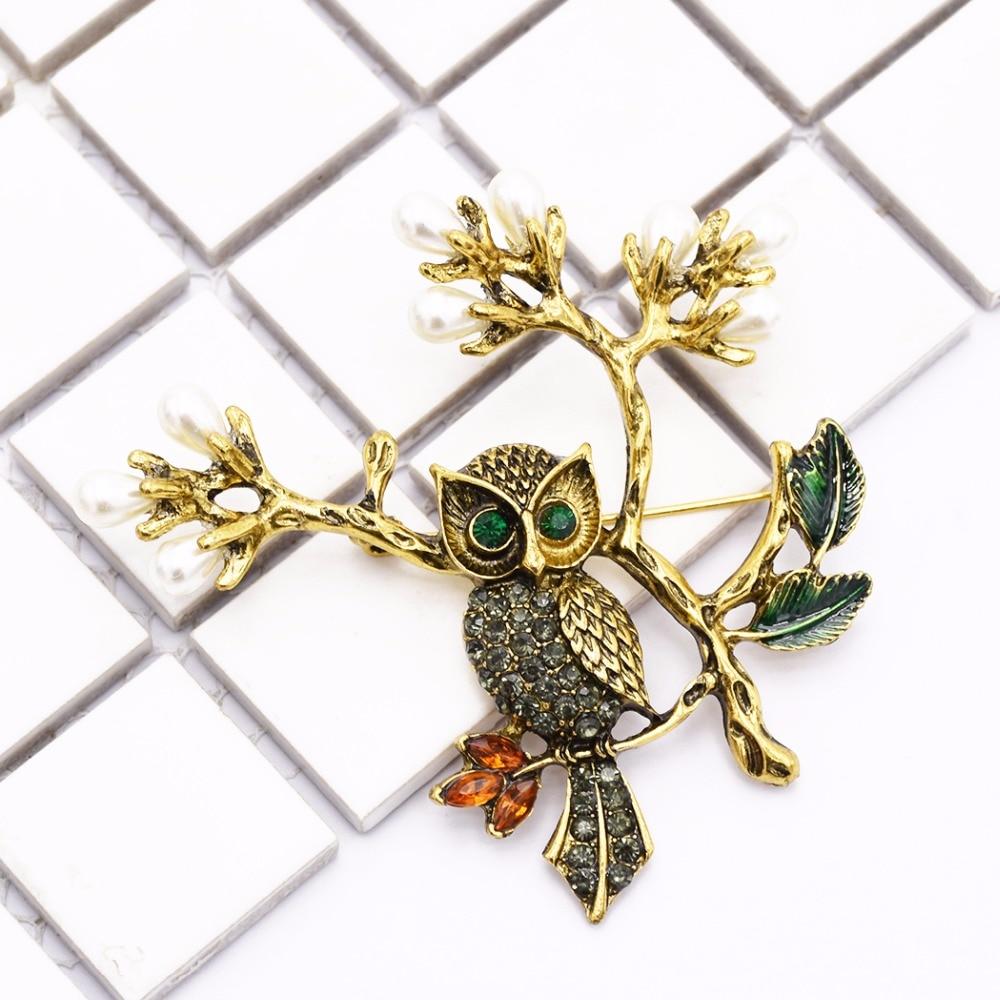 High Quality Luxury Scarf Gold Metal Rhinestone Brooch Enamel Colorful Leaf Owl Brooches Pins for Women Dress Cloth Accessory